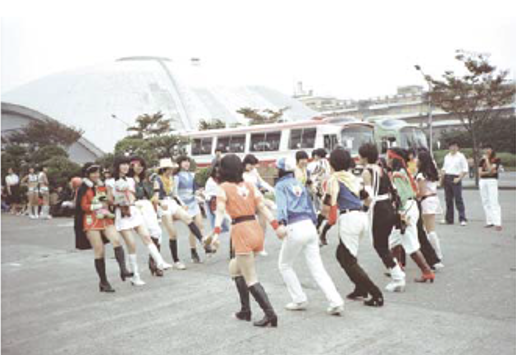 cosplayer na Comiket (anos 1980)