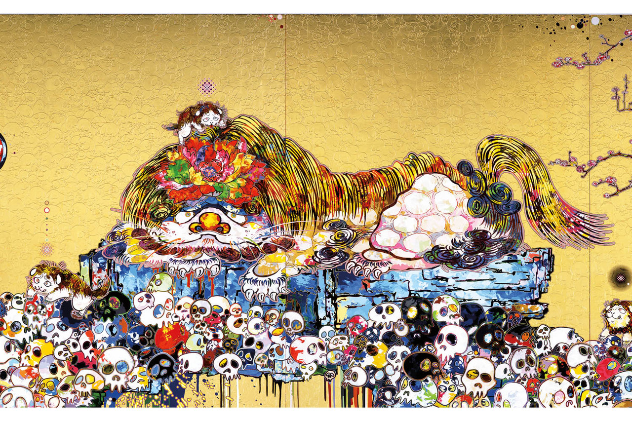 Takashi-Murakami-Gagosian-In-the-Land-of-the-Dead-Stepping-on-the-Tale-of-a-Rainbow-ModeArte